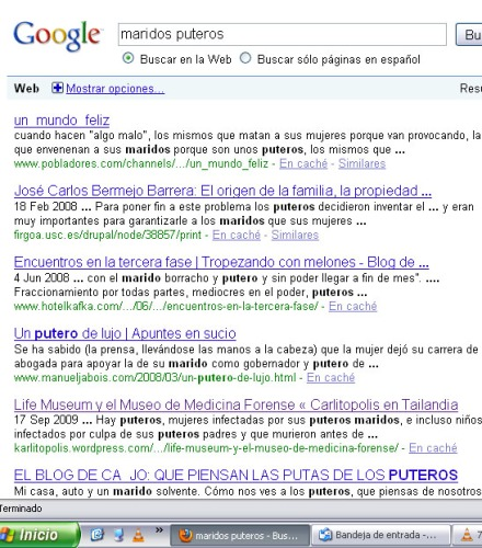 Resultados de la búsqueda en google