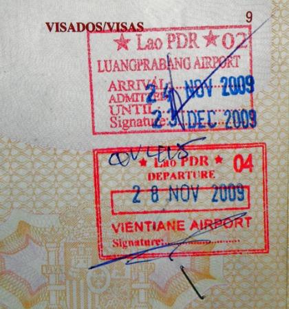 Sello de entrada y salida de Laos