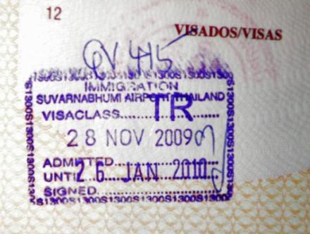 Sello de entrada en Tailandia y fecha para la siguiente salida